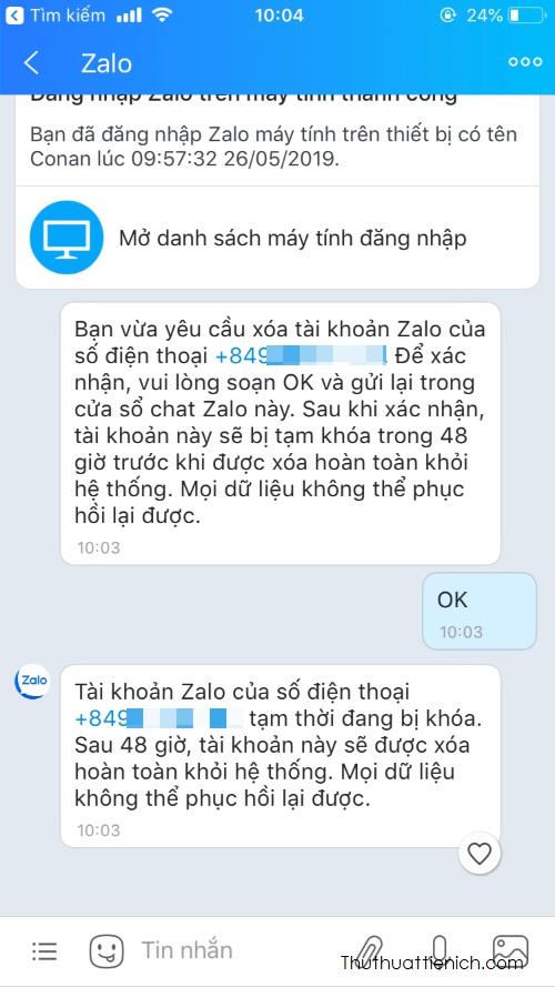 Bạn mở tin nhắn Zalo gửi cho, nhắn OK để xác nhận xóa tài khoản. Lúc này Zalo sẽ thông báo cho bạn tài khoản của bạn đã bị khóa, chờ xóa trong 48 giờ