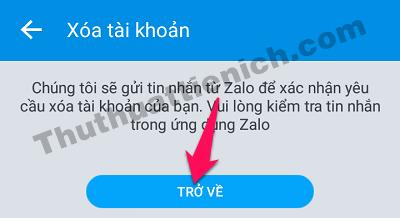 Thông báo Zalo sẽ gửi tin nhắn xác nhận cho bạn
