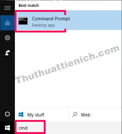 Nhập từ khóa cmd vào khung tìm kiếm trên thanh Taskbar rồi chọn Command Prompt
