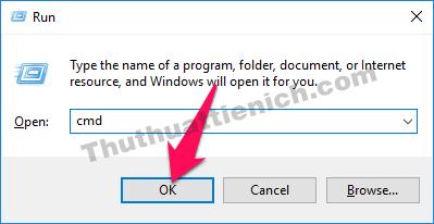 Nhấn tổ hợp phím Windows + R rồi nhập lệnh cmd vào khung Open sau đó nhấn nút OK