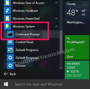 Tìm đến Windows System, nhấn đúp để mở. Lúc này sẽ xuất hiện công cụ Command Prompt