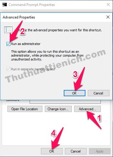 Cách chạy shortcut CMD vừa tạo bằng quyền Admin