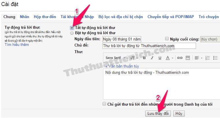 Cách tắt tự động trả lời thư trên Gmail