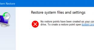 Cách bật tính năng System Restore trên Windows 10