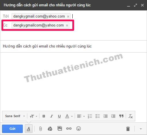Nhập email người nhận vào khung Cc