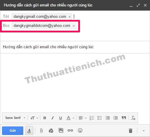 Nhập thêm email người nhận vào khung Bcc