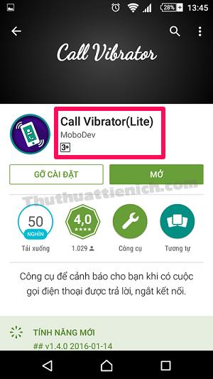 Download ứng dụng Call Vibrator (Lite) về điện thoại
