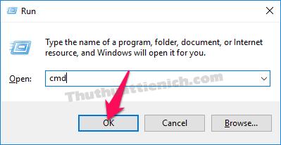 Nhấp tổ hợp phím Windows + R rồi nhập lệnh cmd -> Enter