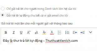 Bật/tắt tự động trả lời thư Outlook/Hotmail