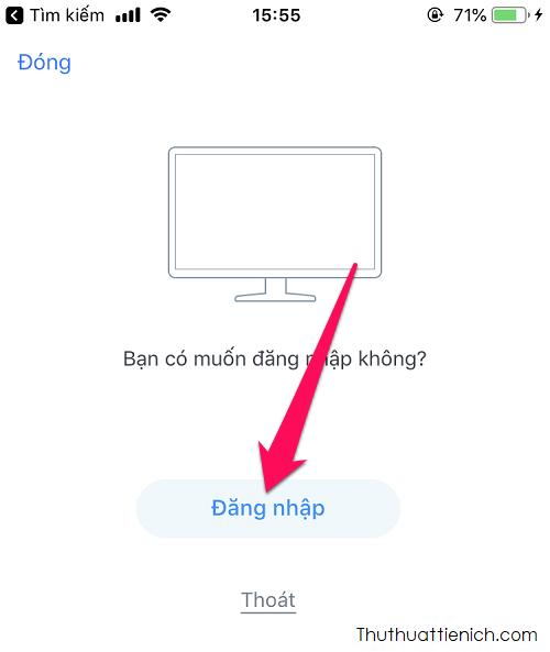 Lúc này trên ứng dụng Zalo (điện thoại) sẽ xuất hiện thông báo hỏi Bạn có muốn đăng nhập không, bạn nhấn nút Đăng nhập để đăng nhập Zalo trên máy tính