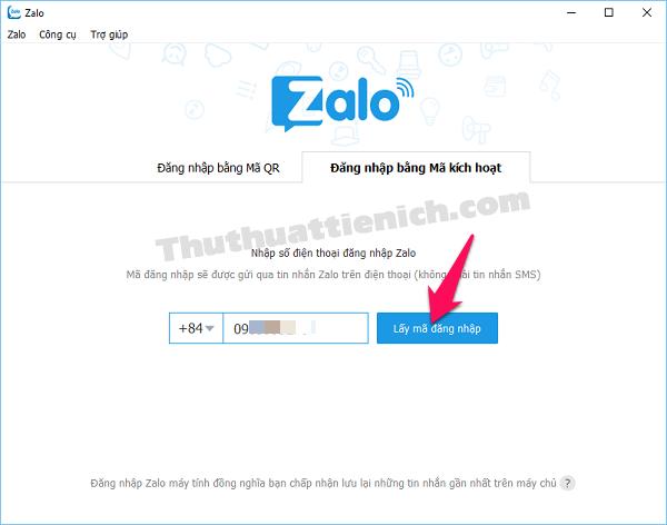 Chọn tab Đăng nhập bằng Mã kích hoạt, nhập số điện thoại rồi nhấn nút Lấy mã đăng nhập