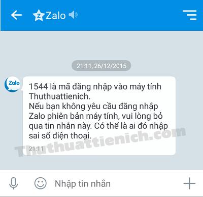 Mã đăng nhập sẽ được gửi vào phần tin nhắn trong ứng dụng Zalo trên điện thoại