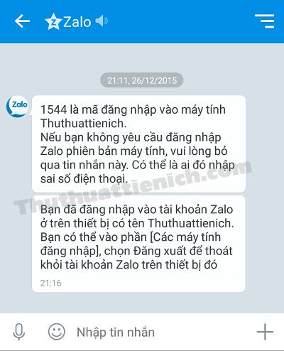 Ứng dụng Zalo trên điện thoại thông báo bạn đã đăng nhập Zalo trên máy tính