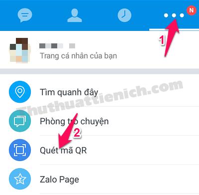 Trên ứng dụng Zalo điện thoại, nhấn nút ... rồi chọn Quét mã QR