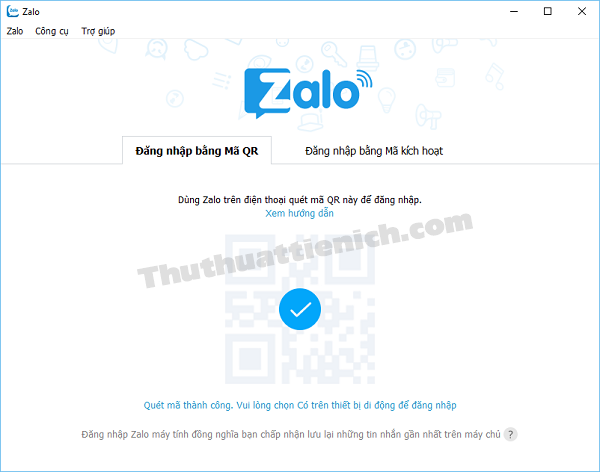 Quét mã QR thành công, tài khoản Zalo sẽ được đăng nhập
