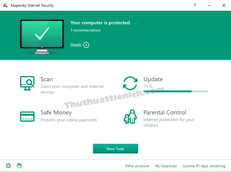 Giao diện Kaspersky Internet Security sau khi nâng cấp