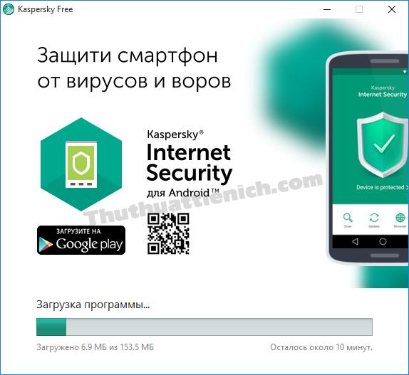 Bắt đầu quá trình cài đặt phần mềm Kaspersky Free