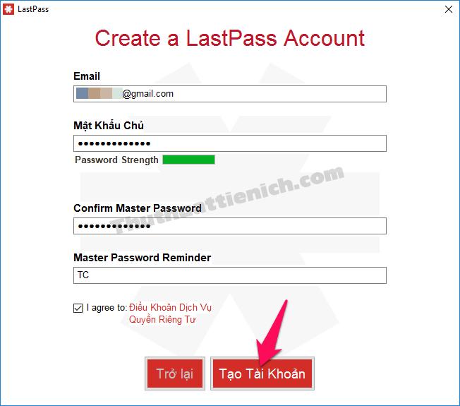 Tạo tài khoản LastPass