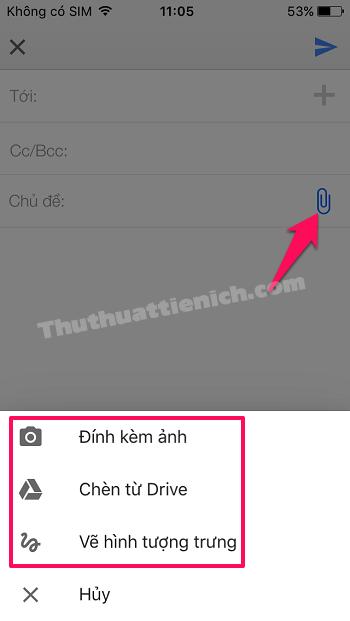 Cách gửi tập tin đính kèm qua Gmail trên iPhone/iPad