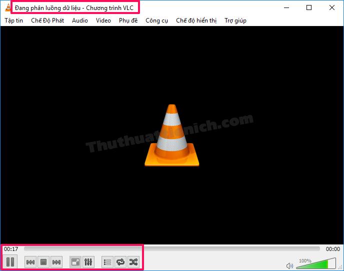 Giao diện VLC Media Player khi đang quay video màn hình