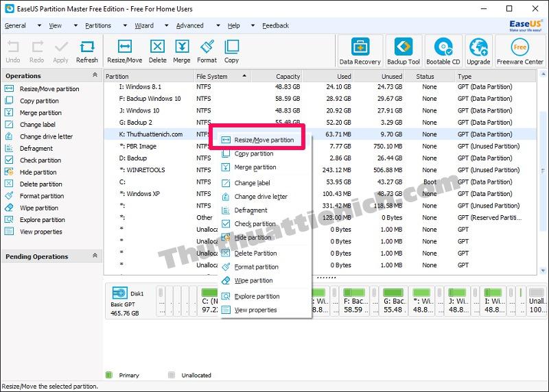 Nhấn chuột phải vào ổ đĩa bạn muốn tách dung lượng chọn Resize/Move partition