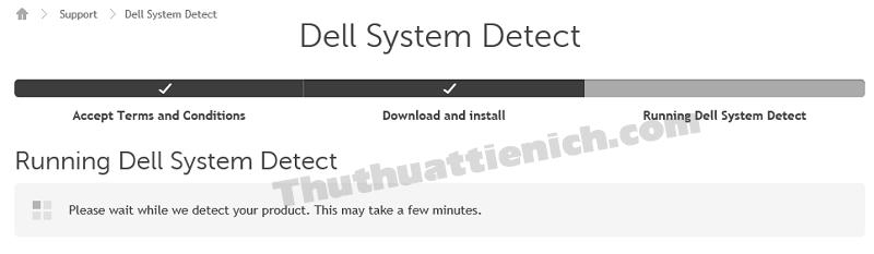 Trang web sẽ tự động kiểm tra các thông tin về thiết bị Dell của bạn