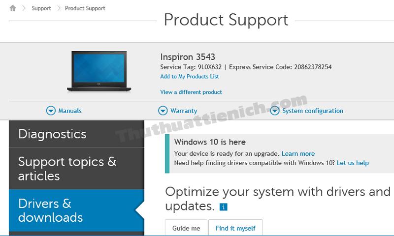 Thông tin về thiết bị Dell của bạn