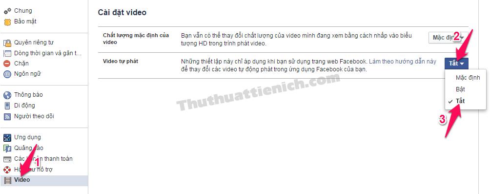 Chọn Video trong menu bên trái -> Chọn Tắt trong phần Video tự phát