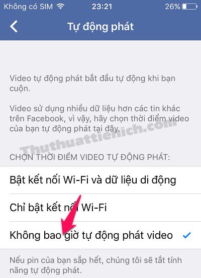 Nhấn chọn phần Không bao giờ tự động phát video