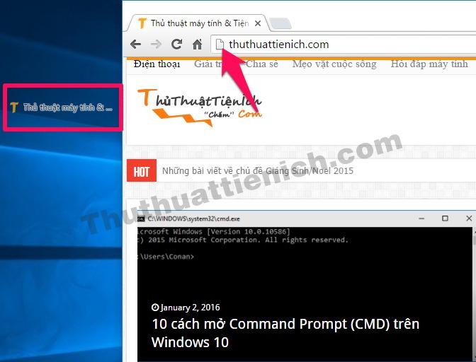 Nhấn và giữ vào biểu tượng hình chữ nhật bên phải địa chỉ trang web, kéo ra màn hình Desktop