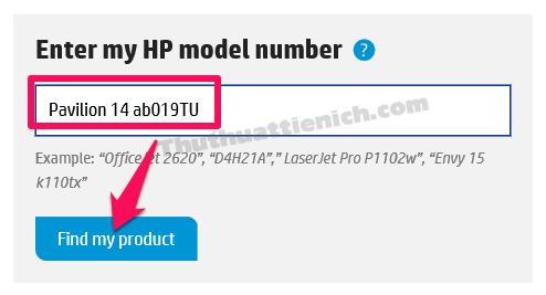 Nhập tên máy tính rồi nhấn nút Find my product