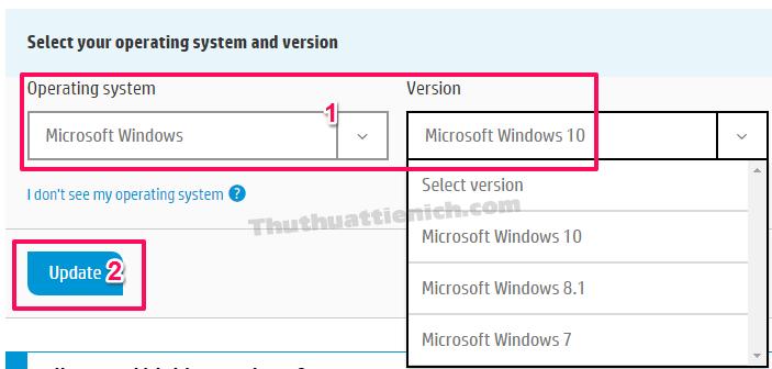 Chọn hệ điều hành PC/Laptop HP bạn đang dùng