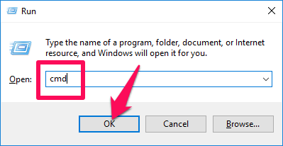 Nhập lệnh cmd vào khung Open rồi nhấn nút OK