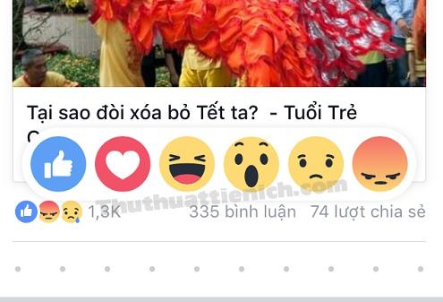 Cách sử dụng nút Thích mới trên ứng dụng Facebook