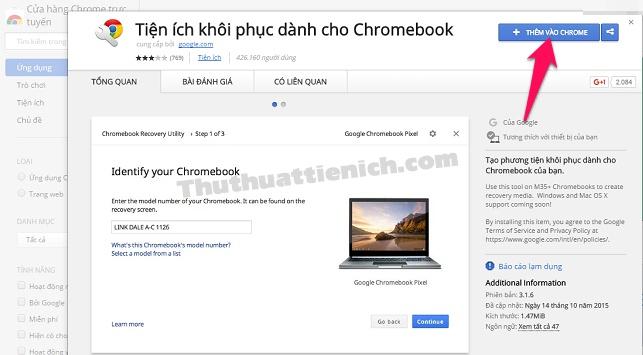 Cài đặt add-on Chromebook Recovery Unility