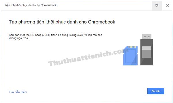 Tiện ích khôi phục dành cho Chromebook được mở
