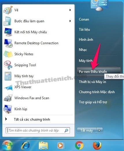 Nhấn nút Start menu chọn Pa-nen điều khiển