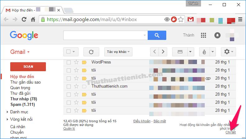 Nhấn nút Chi tiết góc dưới cùng bên phải cửa sổ Gmail