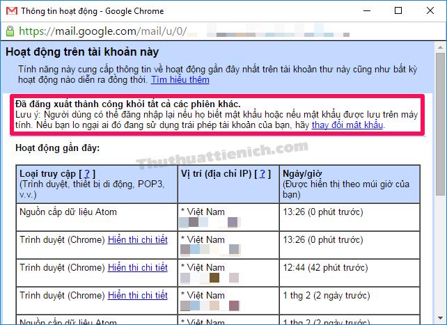 Đăng xuất tài khoản Gmail khỏi tất cả các thiết bị thành công