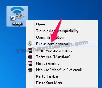 Chạy phần mềm Maryfi với quyền admin