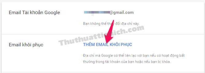 Nhấn vào dòng Thêm Email khôi phục