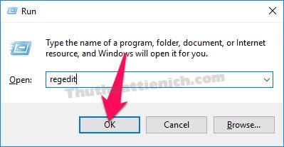 Nhấn tổ hợp phím Windows + R sau đó nhập lệnh regedit