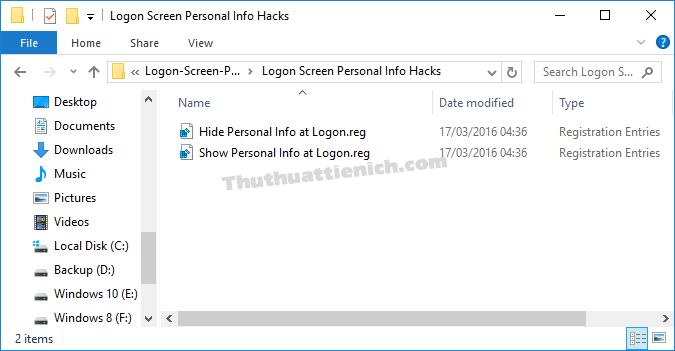 Chạy các tập tin tương ứng để ẩn hoặc hiện thông tin tại màn hình đăng nhập Windows