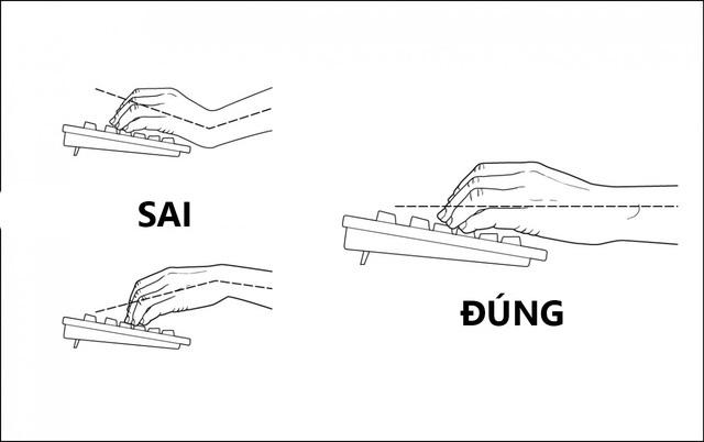 Đặt bàn phím ở độ cao vừa đủ sao cho bàn tay của bạn thẳng hàng với cổ tay