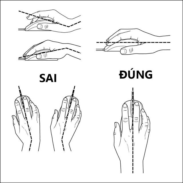 Luôn giữ bàn tay thẳng hàng với cổ tay của bạn. Cổ tay của bạn không nên uốn cong lên hoặc xuống khi bạn đặt tay lên chuột