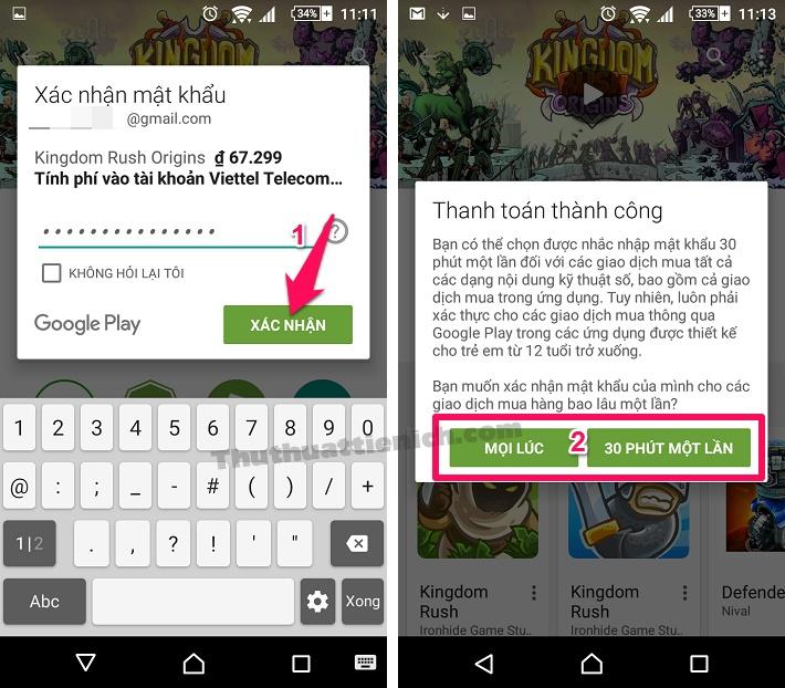Nhập mật khẩu tài khoản Google Play để xác nhận mua game