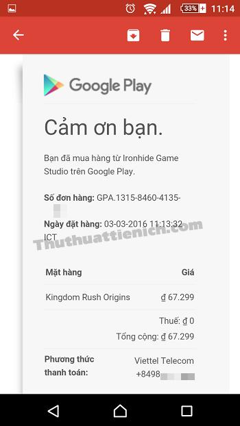 Và bạn cũng nhận được một email cảm ơn từ Google Play kèm hóa đơn mua hàng