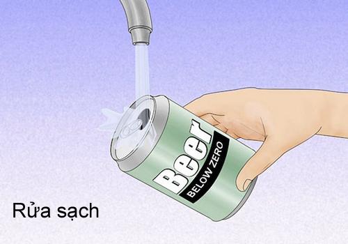 Rửa sạch lon