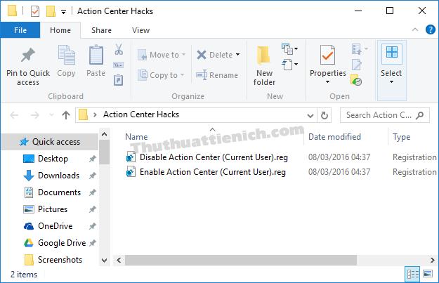 Tắt Action Center chỉ với 1 Click chuột ( sử dụng Registry tạo sẵn)