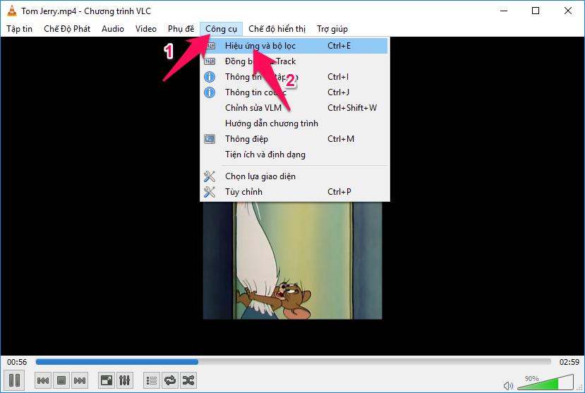 Chọn Công cụ -> Hiệu ứng và bộ lọc (hoặc nhấn tổ hợp phím Ctrl + E)